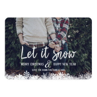 Let It Snow Snowflakes Family Photo Christmas Card