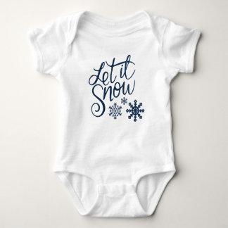 Let it Snow Snowflakes in Blue Faux Glitter Baby Bodysuit