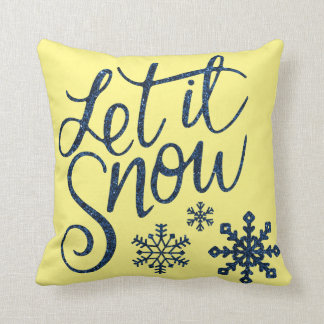 Let it Snow Snowflakes in Blue Faux Glitter Throw Pillow