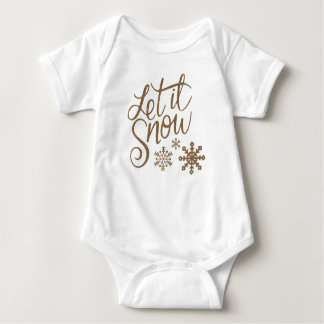 Let it Snow Snowflakes in Gold Faux Glitter Baby Bodysuit