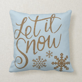 Let it Snow Snowflakes in Gold Faux Glitter Throw Pillow