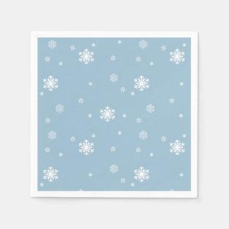 Let it Snow, Snowflakes Pattern on Blue, Winter Paper Napkins