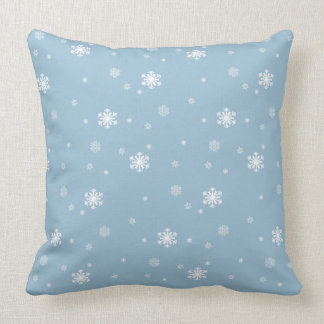 Let it Snow, Snowflakes Pattern on Blue, Winter Throw Pillow