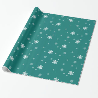 Let it Snow, Snowflakes Pattern on Teal, Snowing Wrapping Paper
