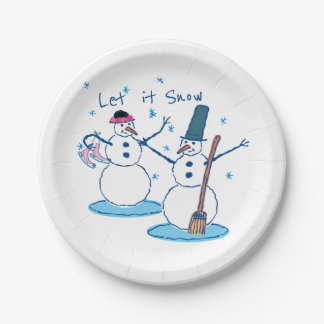 Let it Snow Snowlady & Her Snowman Paper Plate
