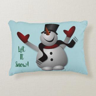 Let It Snow Snowman Accent Pillow