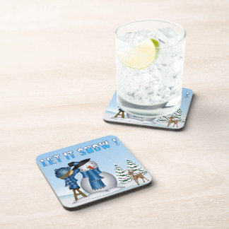Let It Snow Snowman Drink Coaster Set (6)