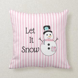 Let It Snow Snowman Pink & White Christmas Pillow