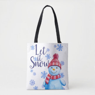 Let it Snow Snowman with Snowflakes Tote Bag