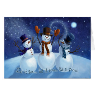 Let It Snow Snowmen Christmas Card