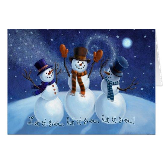 Let It Snow Snowmen Christmas Card