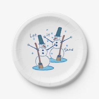 Let it Snow Snowmen Paper Plate