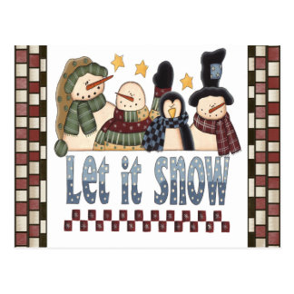 Let It Snow Snowmen Postcard