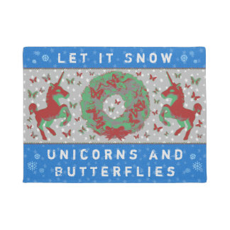 """Let it Snow Unicorns & Butterflies"" Doormat (BB)"