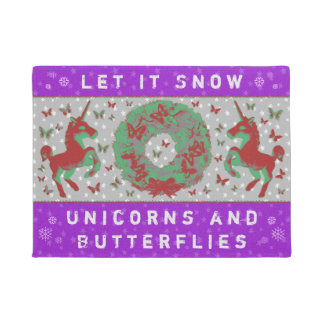 """Let it Snow Unicorns & Butterflies"" Doormat (BP)"