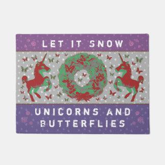 """""""Let it Snow Unicorns & Butterflies"""" Doormat (MP)"""