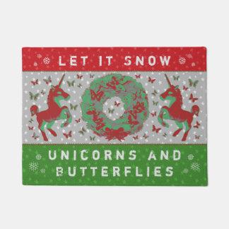 """""""Let it Snow Unicorns & Butterflies"""" Doormat (RG)"""
