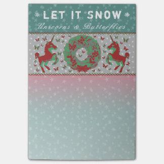 """Let it Snow Unicorns & Butterflies"" Post-Its (Tl) Post-it Notes"