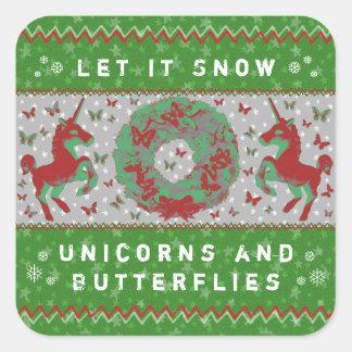 """Let it Snow Unicorns & Butterflies"" Stickers (Gr)"