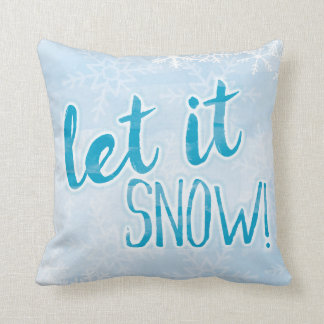 "Let It Snow Watercolor Snowflake Pillow 16"" x 16"""