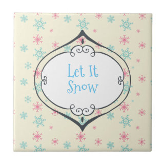 Let it Snow Whimsical Bauble On Snowflakes Wintery Tiles