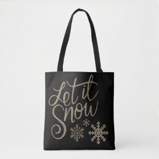 Let it snow winter Christmas tote bag