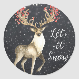 let it snow winter holiday deer stag sticker label