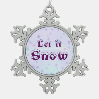 Let it Snow! Winter Sky Snowflakes Polka Dots Pewter Snowflake Ornament