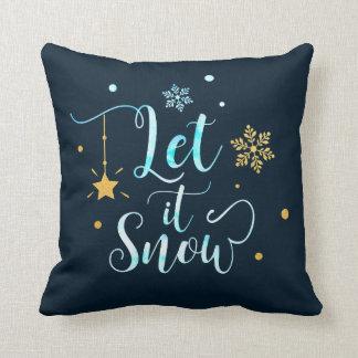 Let it Snow. Winter Snowflakes. Calligraphy Art Throw Pillow