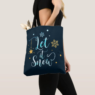 Let it Snow. Winter Snowflakes. Calligraphy Art Tote Bag