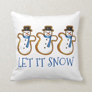 Let It Snow Winter Snowman Cookies Holiday Pillow