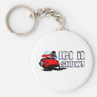 Let It Snowmobile Basic Round Button Keychain