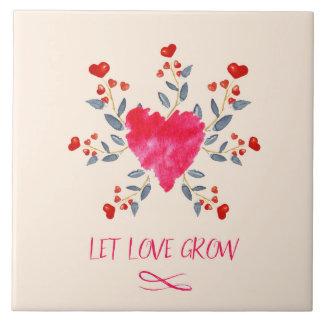 Let Love Grow Romantic Watercolor Hearts Tile