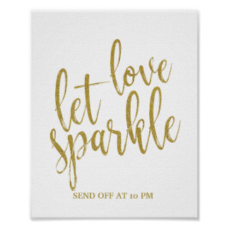 Let love sparkle Gold Glitter 8x10 Wedding Sign