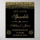 Let Love Sparkle Gold Glitter Wedding Sign