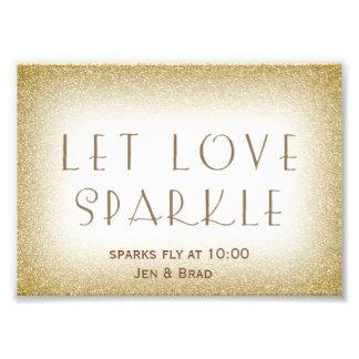 Let love sparkle - gold sparkler send off photo