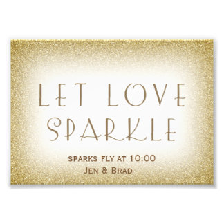 Let love sparkle - gold sparkler send off photo print