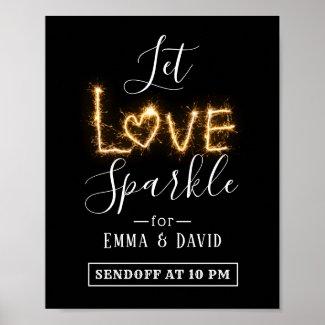 Let Love Sparkle | Sparkler Send Off Wedding Sign