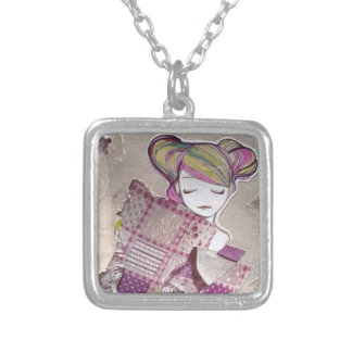 Let Me Dream sleeping girl collage painting Silver Plated Necklace