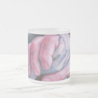 Let me hold your hand 10 oz frosted glass coffee mug