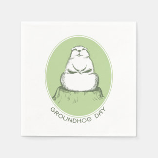 Let Me Think Groundhog Day Party Paper Napkins