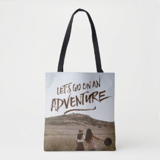 Let's Go On An Adventure Typography Photo Template Tote Bag