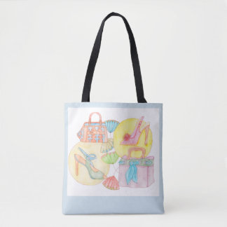 Let´s go shopping - tote bag in light blue