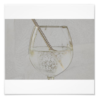 Let´s have a drink - faux gold pencil sketch photo print