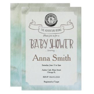 Let the Adventure Begin Baby Shower invitation