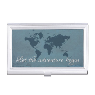 Let the adventure begin business card holder