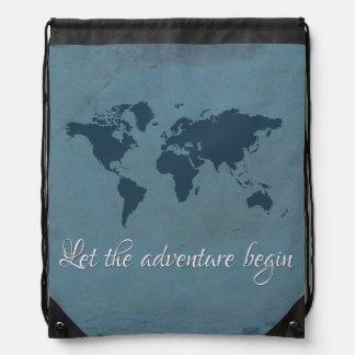 Let the adventure begin drawstring bag