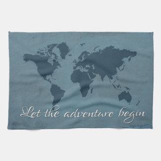 Let the adventure begin kitchen towel