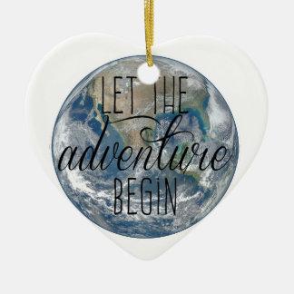 Let the adventure begin Mug, Quote Ceramic Ornament