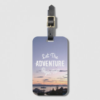 Let The Adventure Begin Now on Lund Sunset Luggage Tag